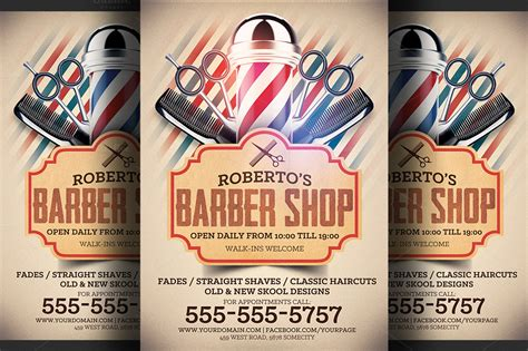 barber shop flyer template flyer templates on creative