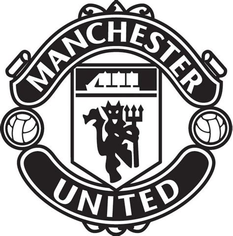 Manchester United White manchester united logo black and white theme and