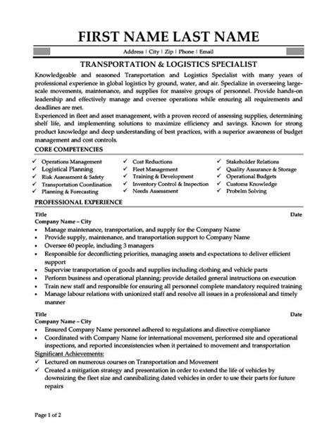 Automated Logistical Specialist Sle Resume by Logistics Resume Template 28 Images Logistics Resume Bunch Ideas Of Fleet Administrator