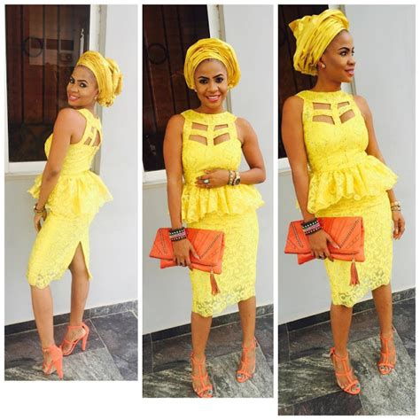aso ebi styles yellow cool and trendy aso ebi short lace dresses