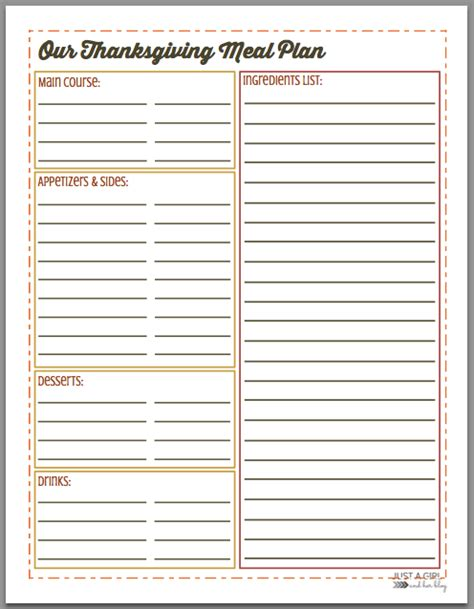 thanksgiving menu meal planning free printable mom 4 real
