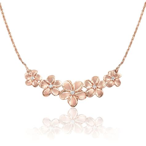 14k gold for jewelry 14k gold five plumeria necklace