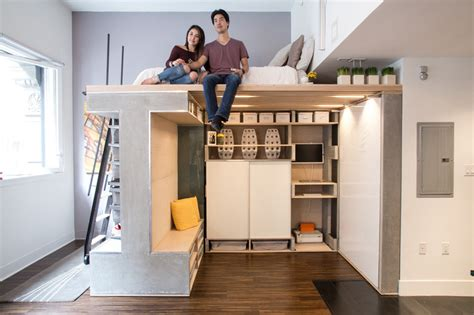 a space saving loft was designed for this small apartment