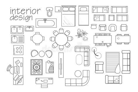 interior design symbols  floor plan top view furniture