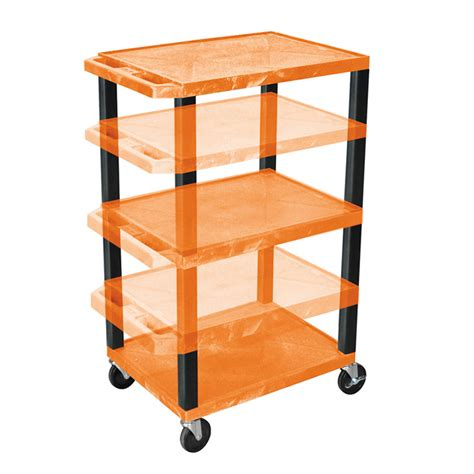 Multi Shelf Cart by Luxor Wt1642or B Orange 3 Shelf Multi Height Cart