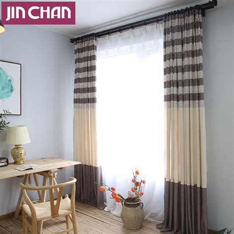 country style living room curtains country style stripe linen blackout window curtains for
