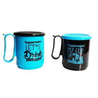 tupperware jumbo mug 2 buah biru hitam lazada indonesia