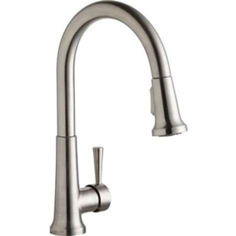 shop elkay explore lustrous steel 1 handle pull down elkay elk6000ls pull out spray kitchen faucet lustrous