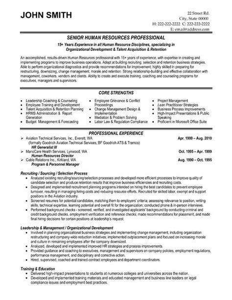 top human resources resume templates sles