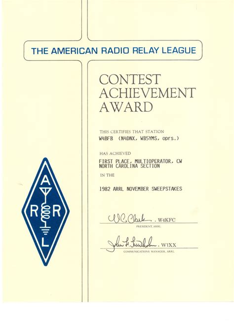 Arrl Sweepstakes Contest - contest awards w4bfb mars
