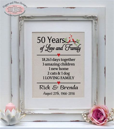 50th anniversary gift 50 years 50 year by pepperandbluedesigns anniversary gifts 24th