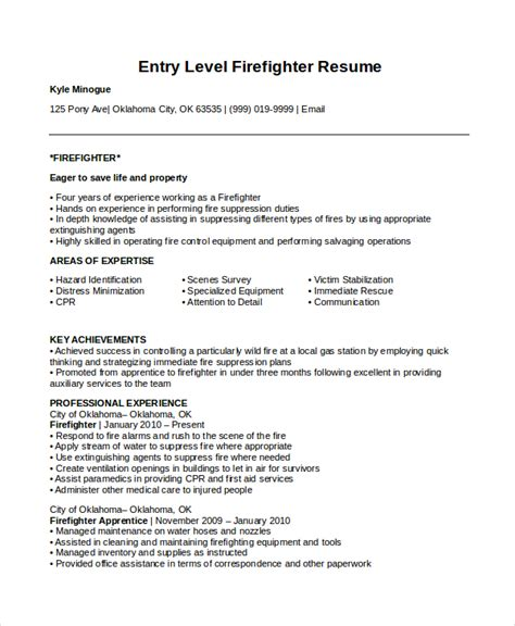 firefighter cover letter exles 7 firefighter resume templates pdf doc free