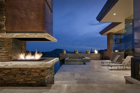Stunning Interiors For The Home outdoor fireplace terrace jacuzzi modern home in