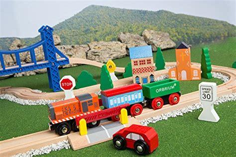 chuggington brio orbrium toys 52 pcs deluxe wooden train set with 3