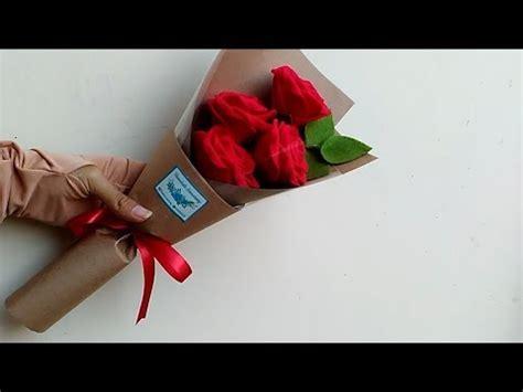 tutorial cara membungkus buket bunga wrapping rose felt bouquet cara membungkus buket bunga