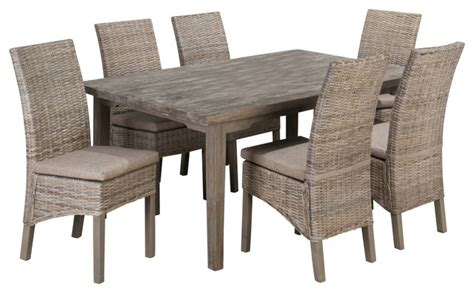 jofran burnt grey 7 72x42 dining room set w linen