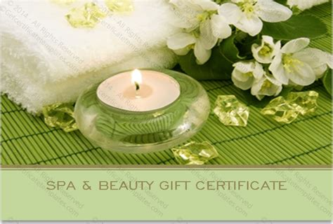 spa day gift card template two sided spa gift certificate template