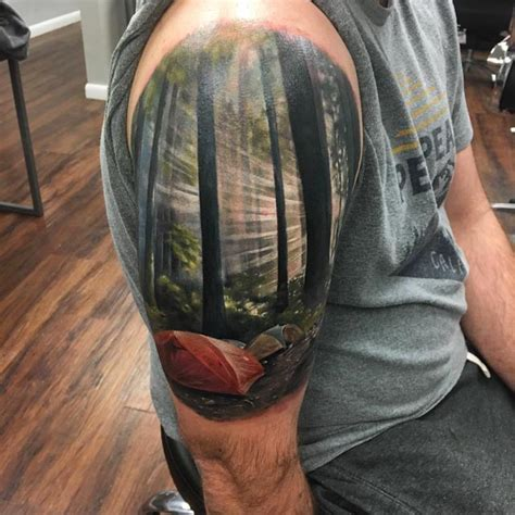 camp landscape tattoo  shoulder  tattoo ideas gallery