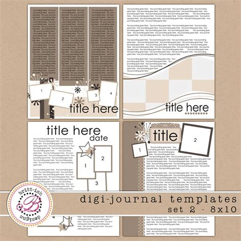 journal design templates free digi journal templates 2 8x10 brittdes 8x10journal2