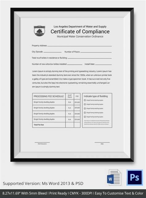 Certificate Of Compliance Template 9 Free Word Pdf Documents Download Free Premium Templates Certificate Of Compliance Form Template