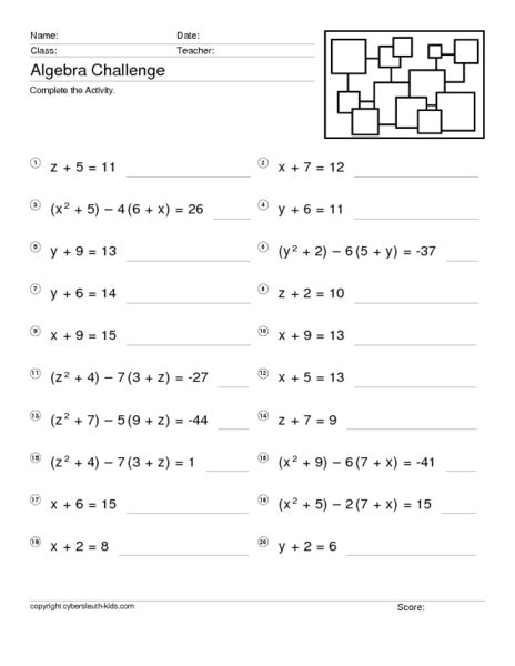 solving linear equations in one variable worksheet davezan