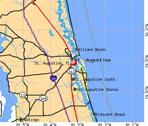 map of florida showing st augustine st augustine florida fl 32084 32086 profile