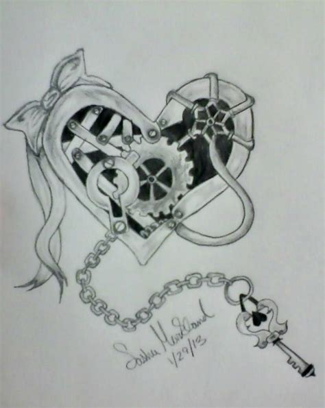 mechanical heart tattoo mechanical and key by coloredcodedrainbow on deviantart