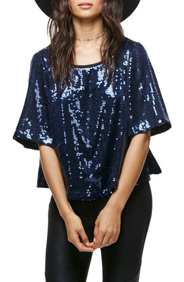 blue blouse for christmas party glam sequin tops for season new year s 2016