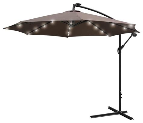 Patio Umbrella Led Lights 10 Roma Patio Offset Hanging Umbrella With Led Lights Outdoor Umbrellas By Yescom