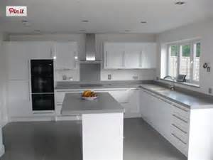 dove grey corian on gloss white kitchen