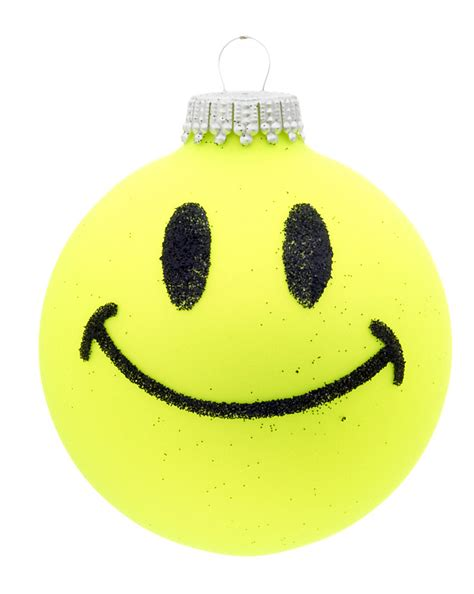 neon smiley face yellow christmas ornament kids