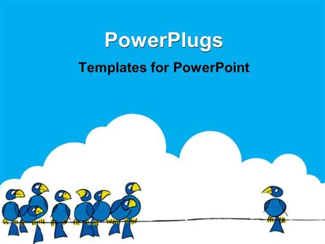 powerpoint template cartoon birds in blue color several