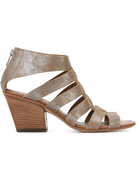 chunky heel sandals pantanetti strappy chunky heel sandals in brown save 31
