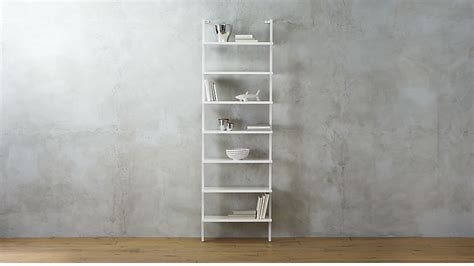 stairway white 96 quot wall mounted bookcase cb2