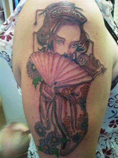 geisha tattoo with fan 65 graceful geisha tattoos on shoulder