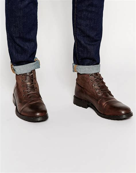 jones kingsley leather suede boots in brown for