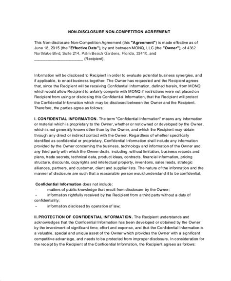 non compete non disclosure agreement template 9 non compete agreements free sle exle format