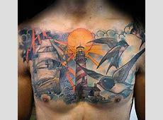 50 Cloud Chest Tattoos For Men - Blue Sky Ink Design Ideas Gates Of Heaven Design