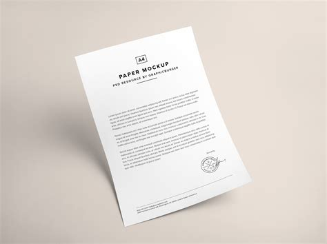 business letter mockup a4 paper psd mockup graphicburger