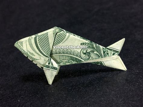 Origami Money Fish - tiny baby fish dollar origami sea vincent the artist