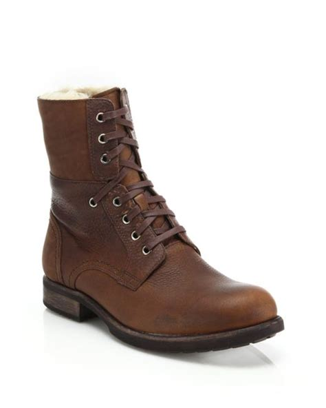 mens wool lined boots ugg larus wool lined leather boots in brown for lyst