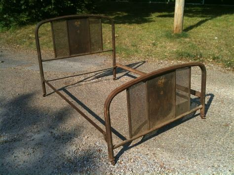 antique bed rails antique iron bed western full size original rails beautiful rust patina floral