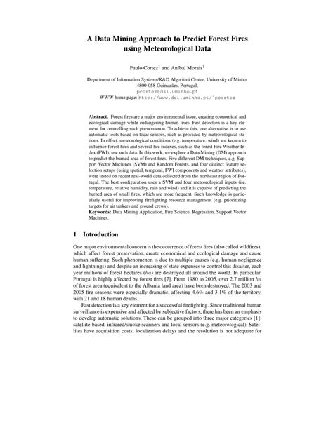 (PDF) A Data Mining Approach to Predict Forest Fires using
