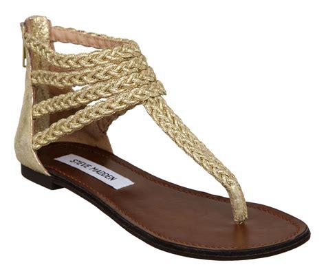 steve madden symon t bar plaited sandals in gold lyst