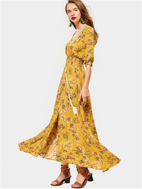 41345 Flower With Slit S M L Dress 2019 belted slit button up floral maxi dress in yellow l