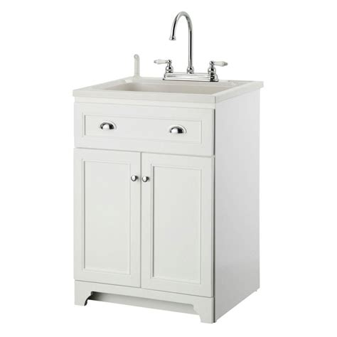 Laundry Room Vanity Cabinet Glacier Bay All In One 24 2 In X 21 35 In X 33 85 In Stainless Steel Laundry Sink With Faucet