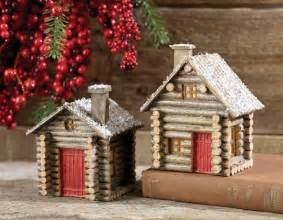raz log cabin christmas ornament set of 2