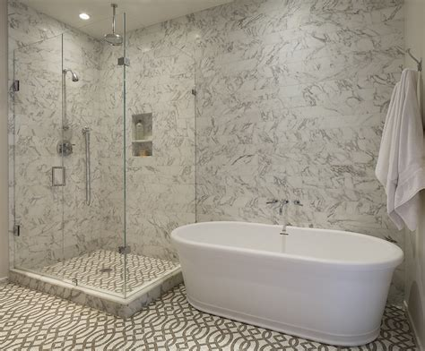 european bathtub blue gray shower tiles cottage bathroom lauren liess