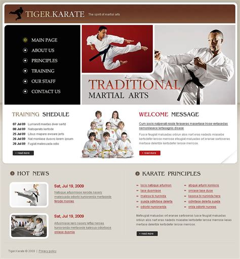 website templates for karate martial arts website template 23212