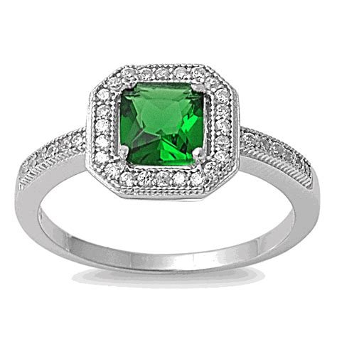 sterling silver emerald cz cushion halo ring